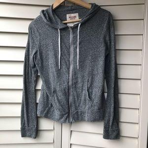 Grey Soft Jacket Drawstring Zip Hoodie Mossimo